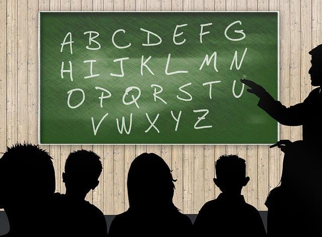 alphabets on blackboard