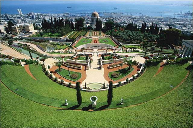 large-The Shrine of the Bab on Mount Carmel overlooking Haifa Bay