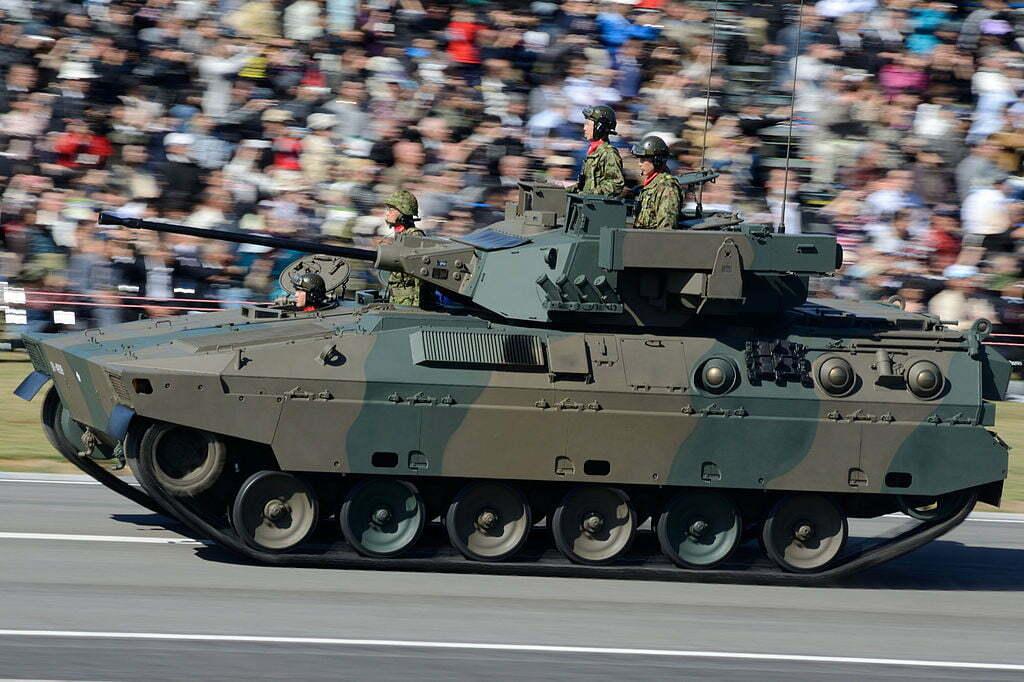Running_JGSDF_Type89_IFV_at_JGSDF_Review_of_Troops