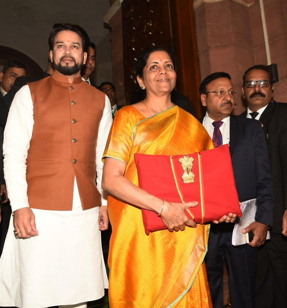 Union Finance Minister Nirmala Sitharaman and Minister of State for Finance Anurag Singh Thakur entering the Parliament House to present the General Budget