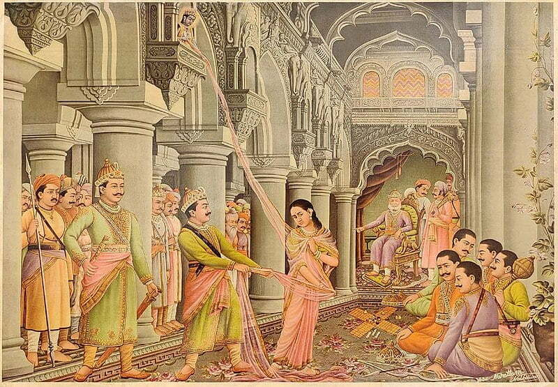 The Kauravas trying to disrobe Draupadi