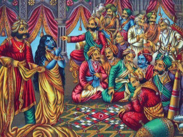 Draupadi being humiliated in Kaurava court