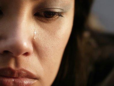 lady tears in eyes