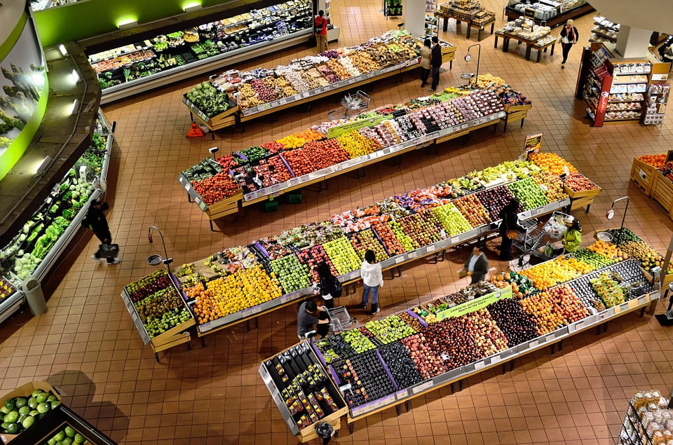 top angle view of a supermarket