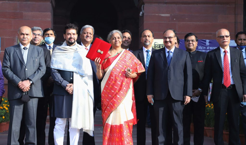 Union Minister for Finance and Corporate Affairs, Nirmala Sitharaman and Minister of State for Finance and Corporate Affairs, Anurag Thakur after presenting the General Budget 2021-22