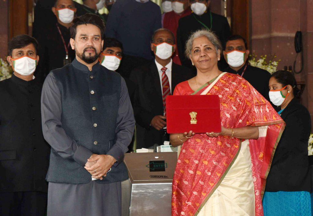 Union Minister for Finance Nirmala Sitharaman at the Parliament House to present the General Budget 2021-22
