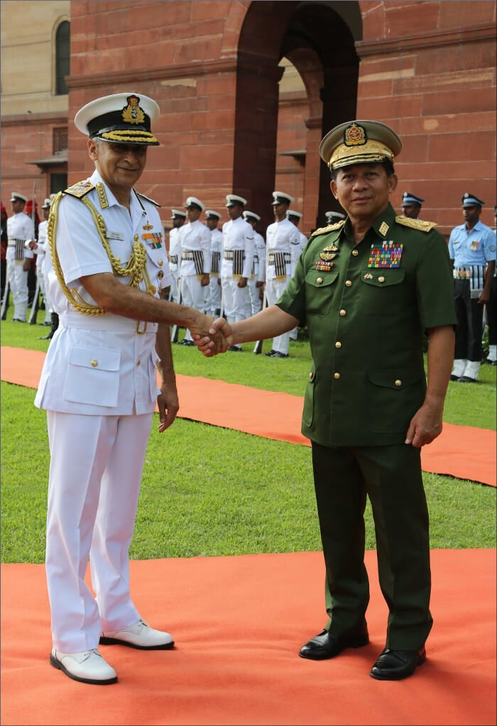 Myanmar Army Chief General Min Aung Hlaing on a visit to India
