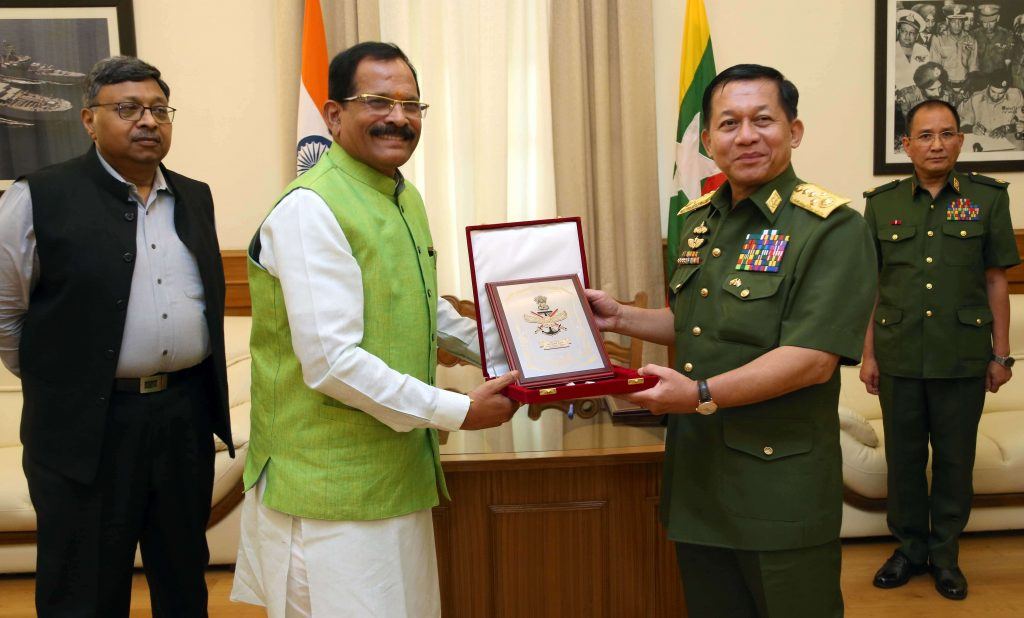 Senior General Min Aung Hlaing Myanmar Army on a visit to India in 2019