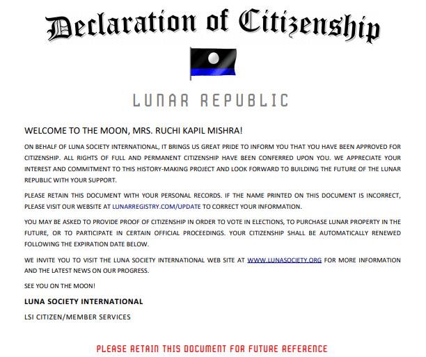 Declaration of Citizenship Lunar Republic